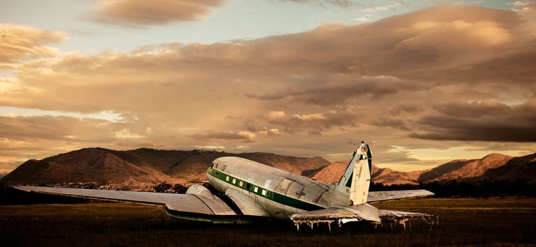 Mezcal Flight 47, Oaxaca Winner of an Epson Bronze Award for Panoramic photography, 2012. This DC-47 sits on the runway in Oaxaca, Mexico.